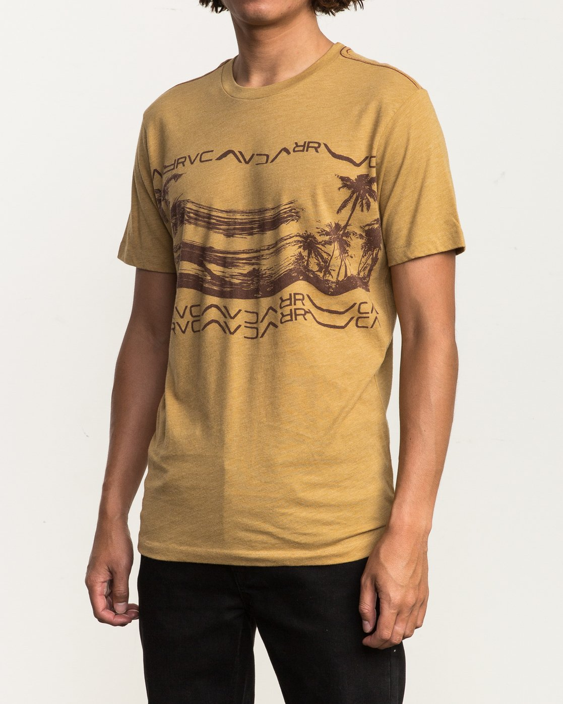 3 Warped Palm T-Shirt Green M420SRWA RVCA