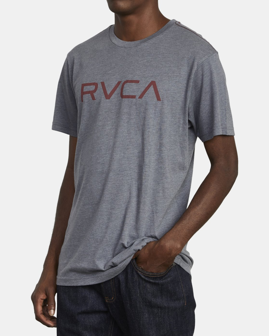 3 BIG RVCA SHORT SLEEVE TEE Grey M420VRBI RVCA