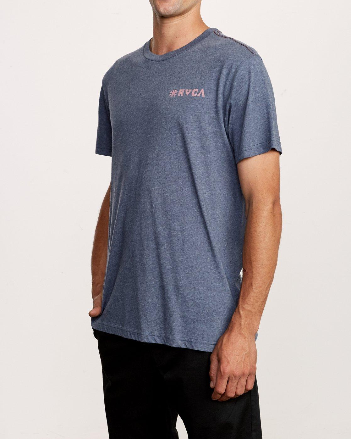 3 Mowgli Linocut T-Shirt Blue M420VRLI RVCA