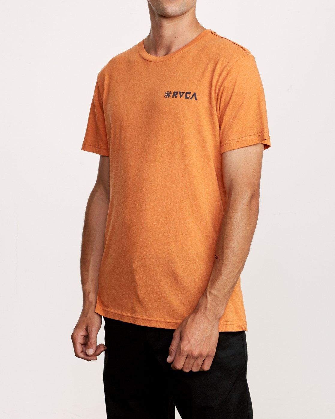 3 Mowgli Linocut T-Shirt Orange M420VRLI RVCA