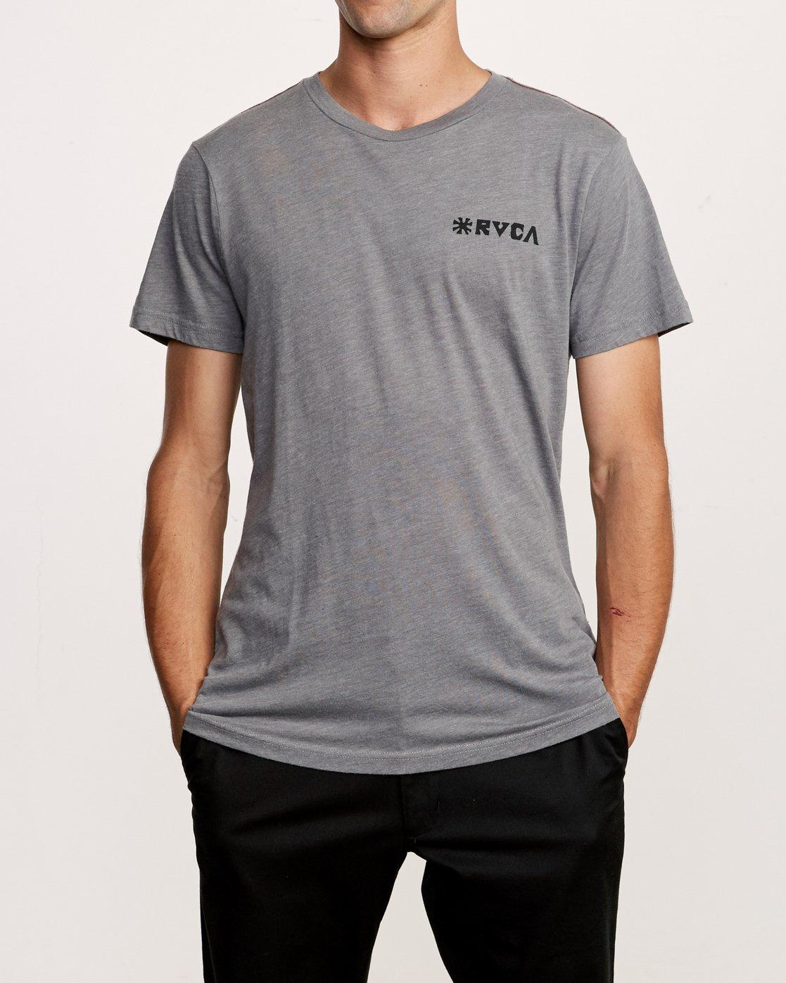 2 Mowgli Linocut T-Shirt Grey M420VRLI RVCA