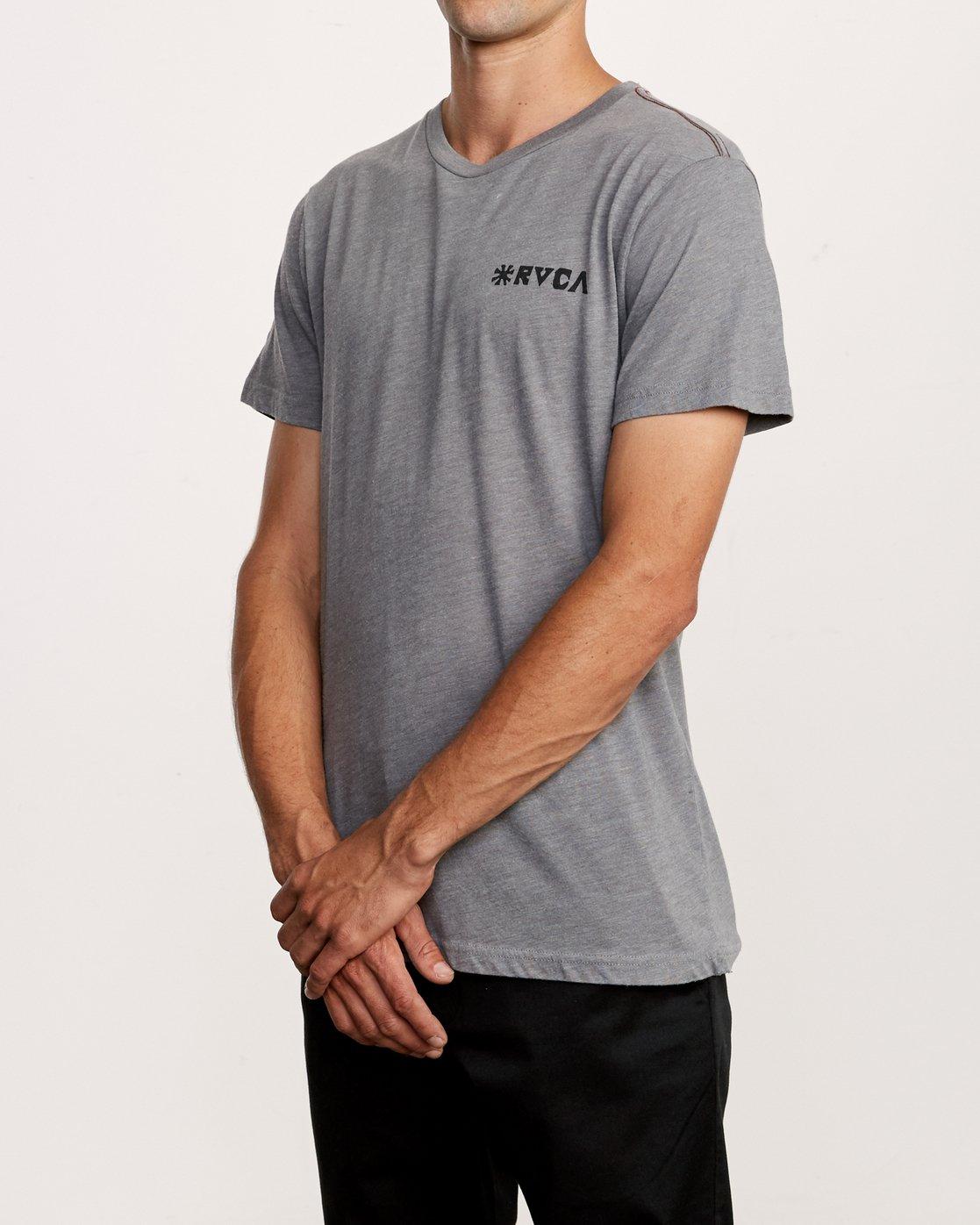3 Mowgli Linocut T-Shirt Grey M420VRLI RVCA