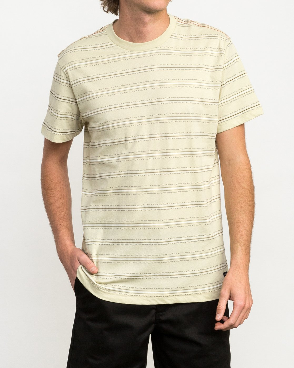 1 Feeder Striped T-Shirt Yellow M422QRFE RVCA