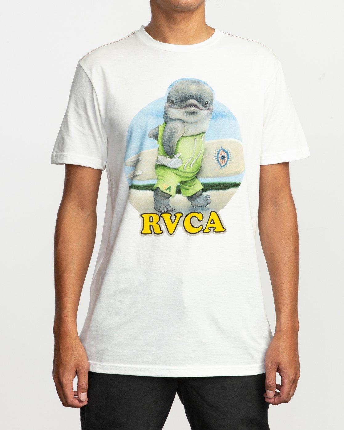 2 RVCA Platform Matt Gordon Surfin Dolphin T-Shirt White M422QRSD RVCA