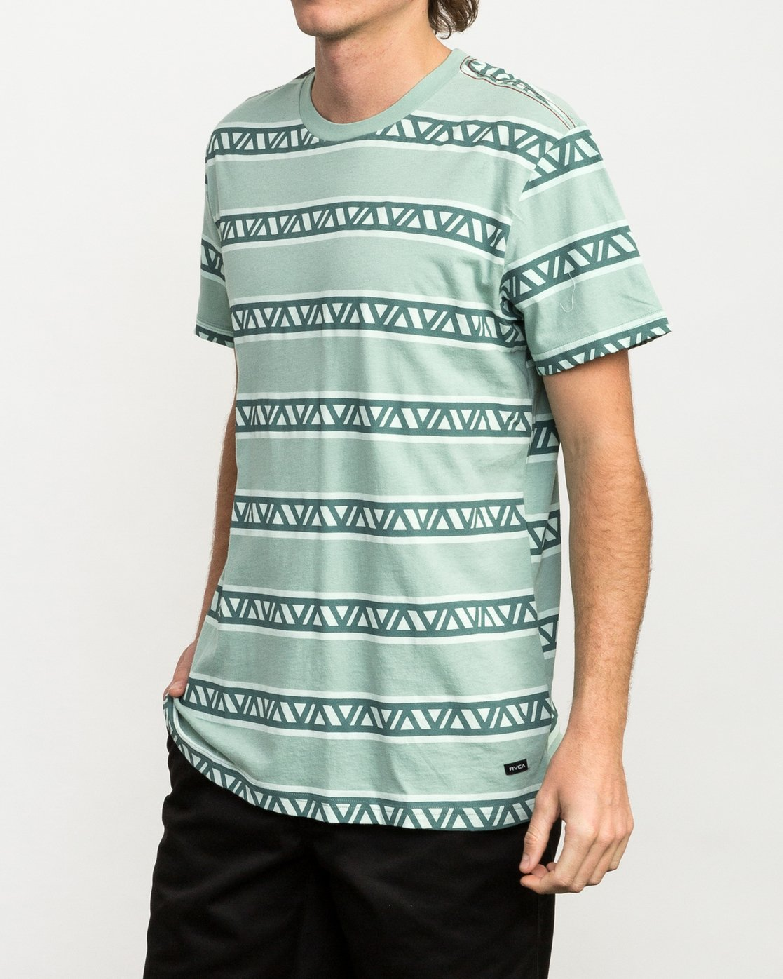 2 VA Repeater Striped T-Shirt Green M422QRVA RVCA