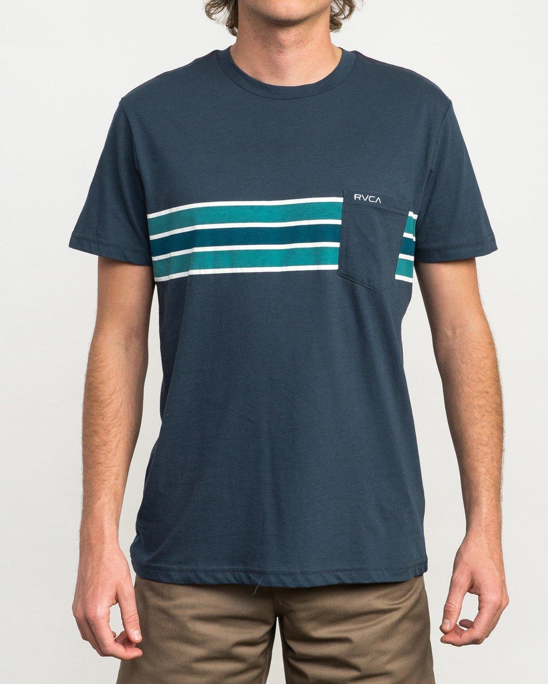 1 Day Stripe Pocket T-Shirt Blue M424QRDA RVCA