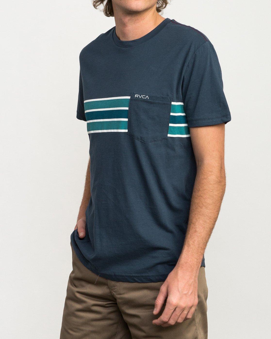 2 Day Stripe Pocket T-Shirt Blue M424QRDA RVCA