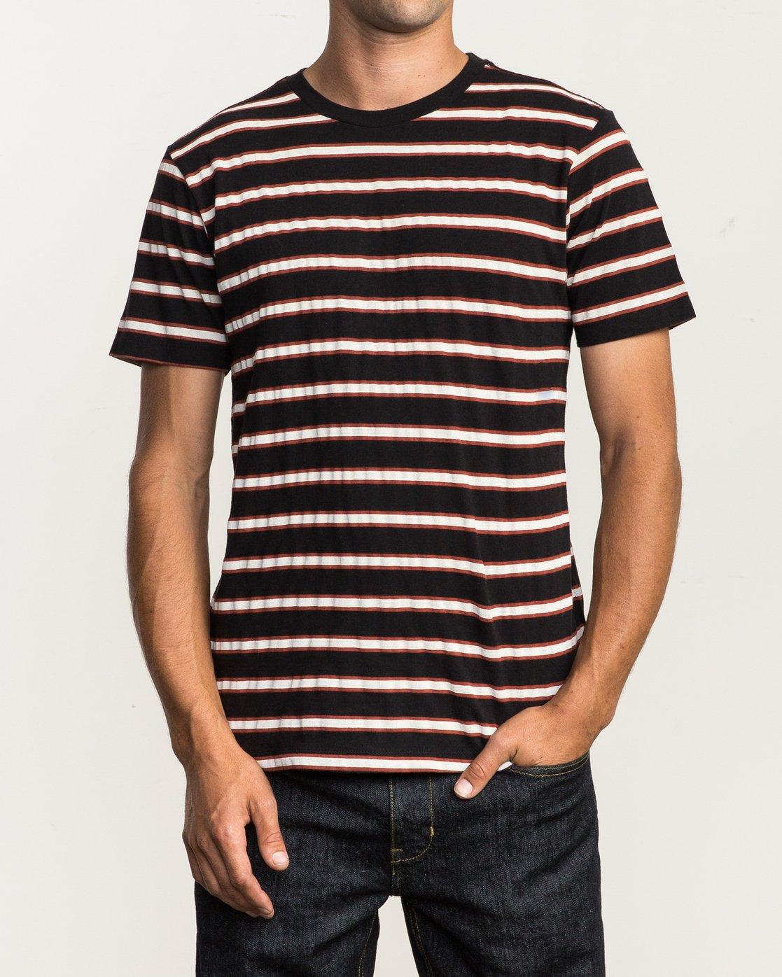 1 Brong Stripe T-Shirt Black M430SRBR RVCA