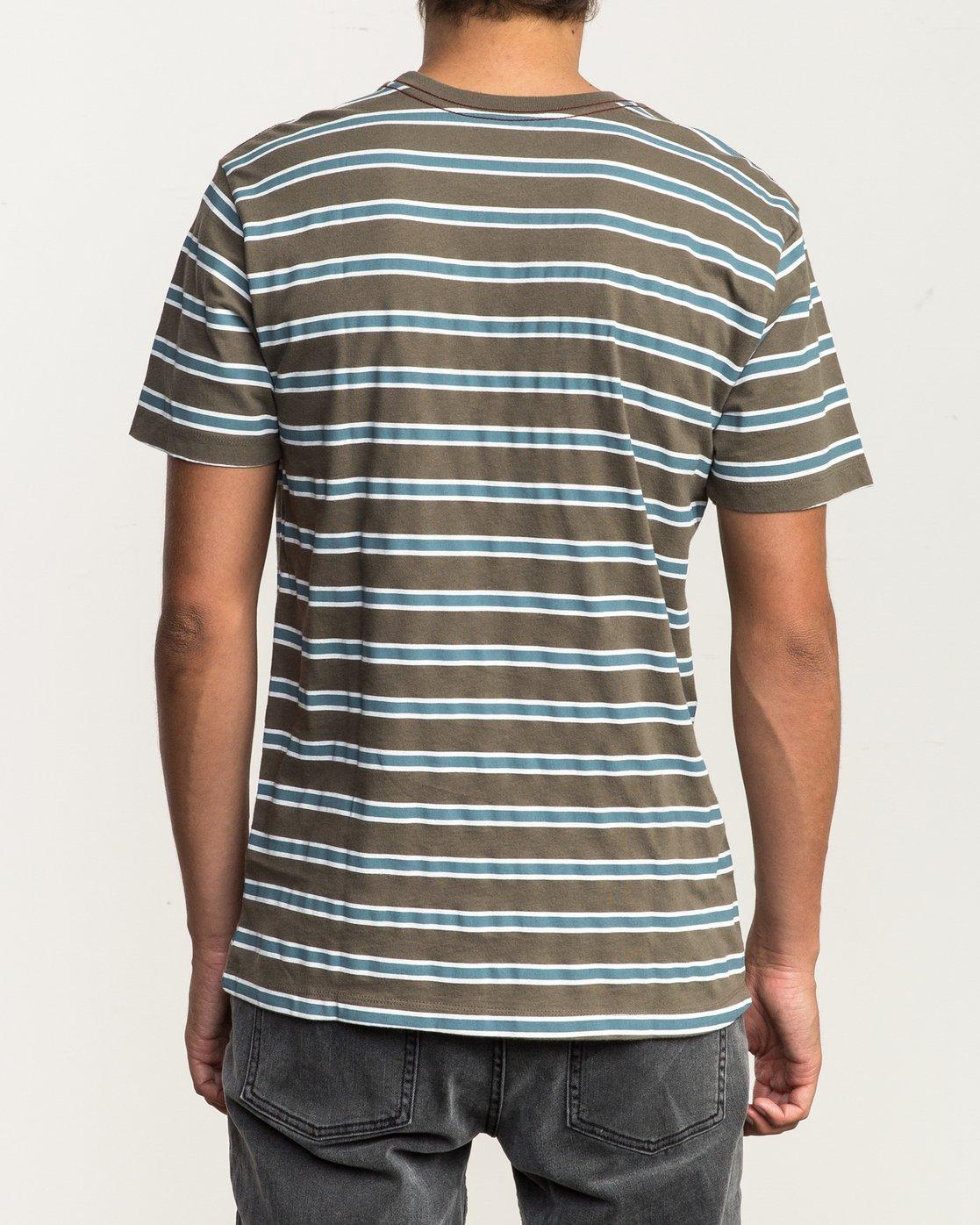 3 Brong Stripe T-Shirt Brown M430SRBR RVCA