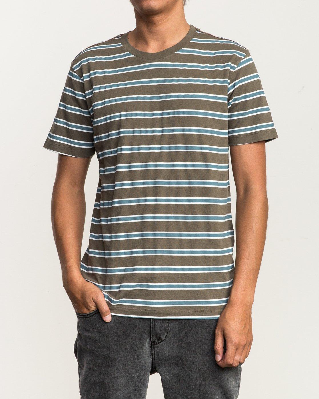 1 Brong Stripe T-Shirt Brown M430SRBR RVCA