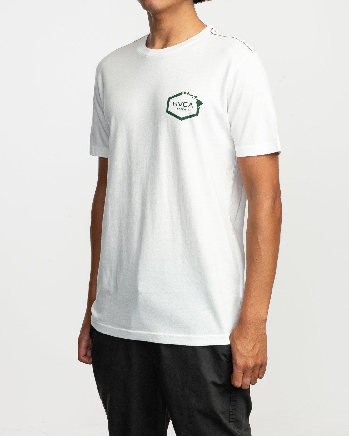 5 Islands Hex Hawaii T-Shirt White M430TRIS RVCA