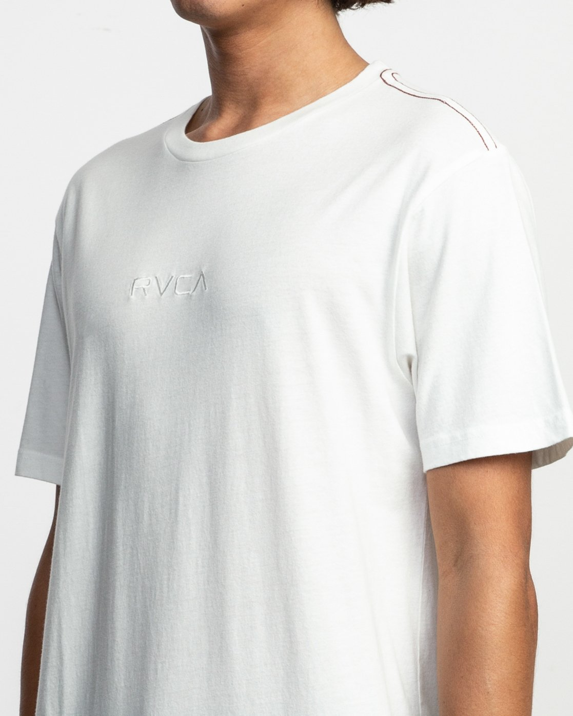 4 Small RVCA Embroidered T-Shirt White M430VRSM RVCA