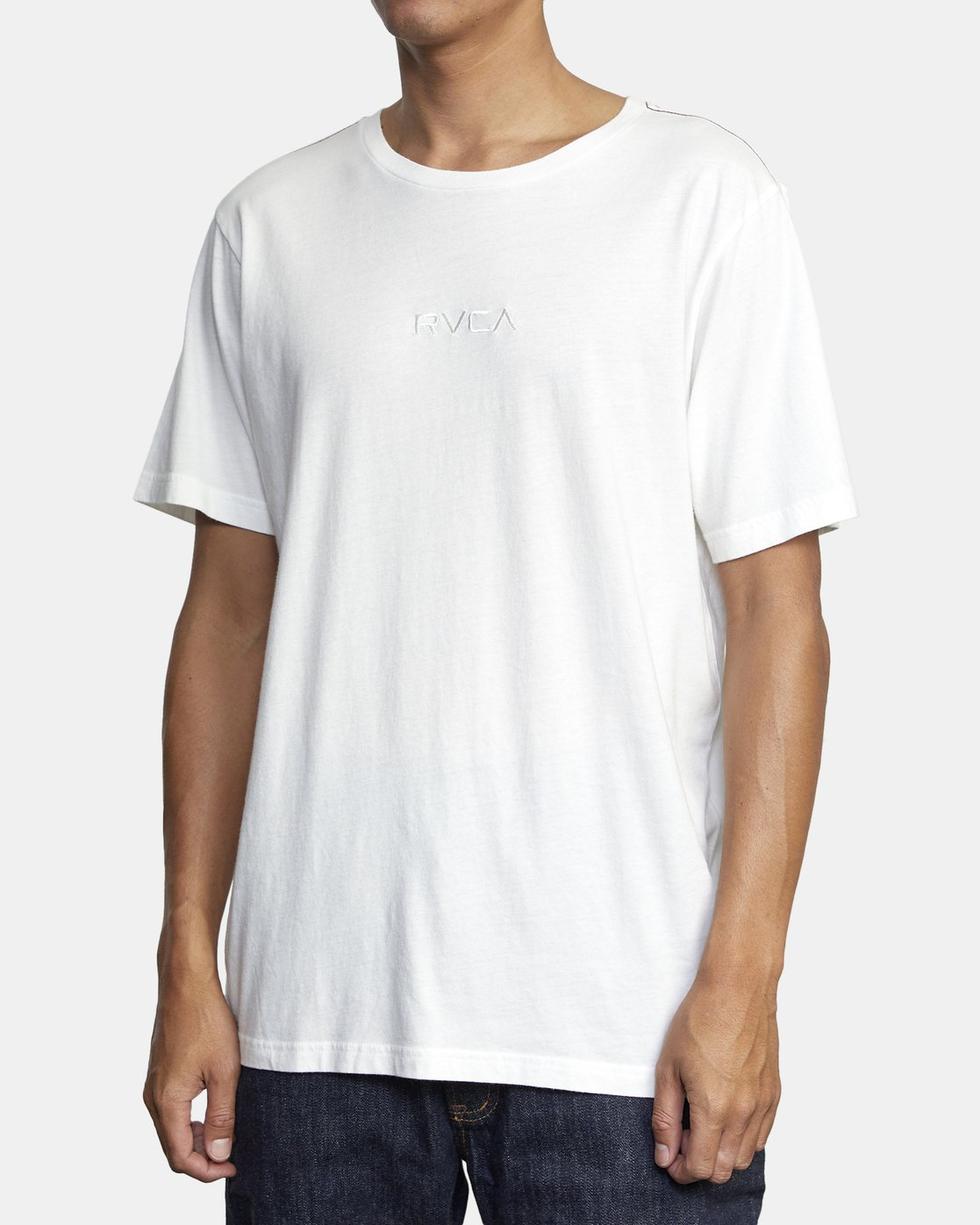 2 Small RVCA Embroidered T-Shirt White M430VRSM RVCA