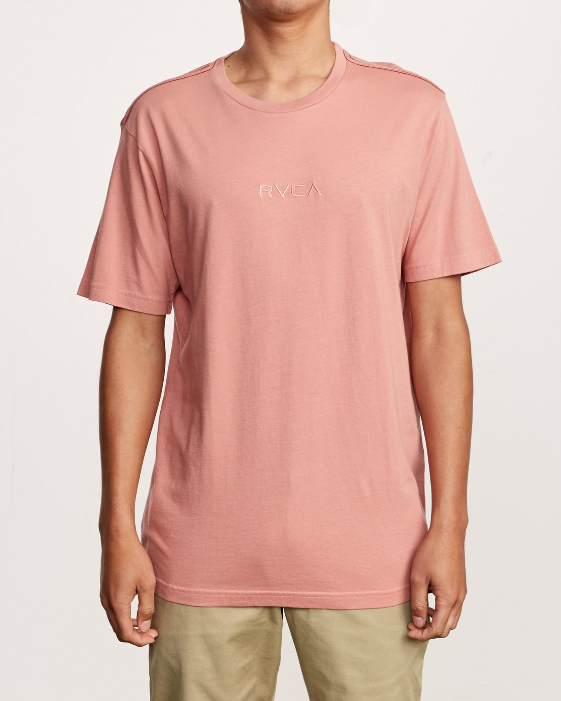 1 Small RVCA Embroidered T-Shirt Pink M430VRSM RVCA