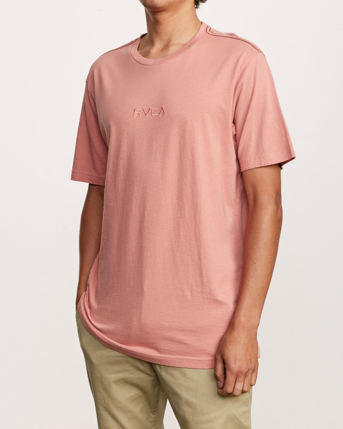2 Small RVCA Embroidered T-Shirt Pink M430VRSM RVCA