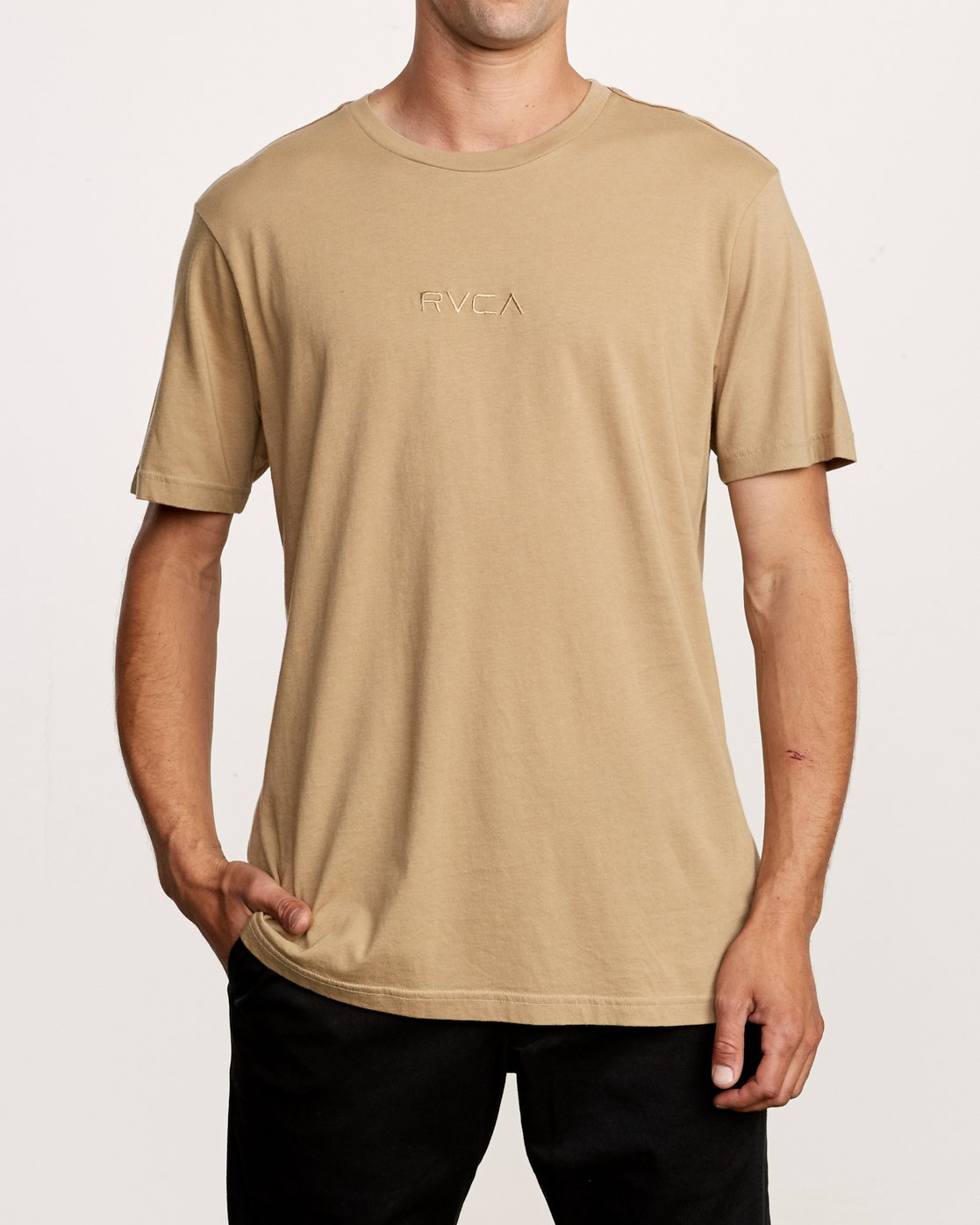 1 Small RVCA Embroidered T-Shirt Yellow M430VRSM RVCA
