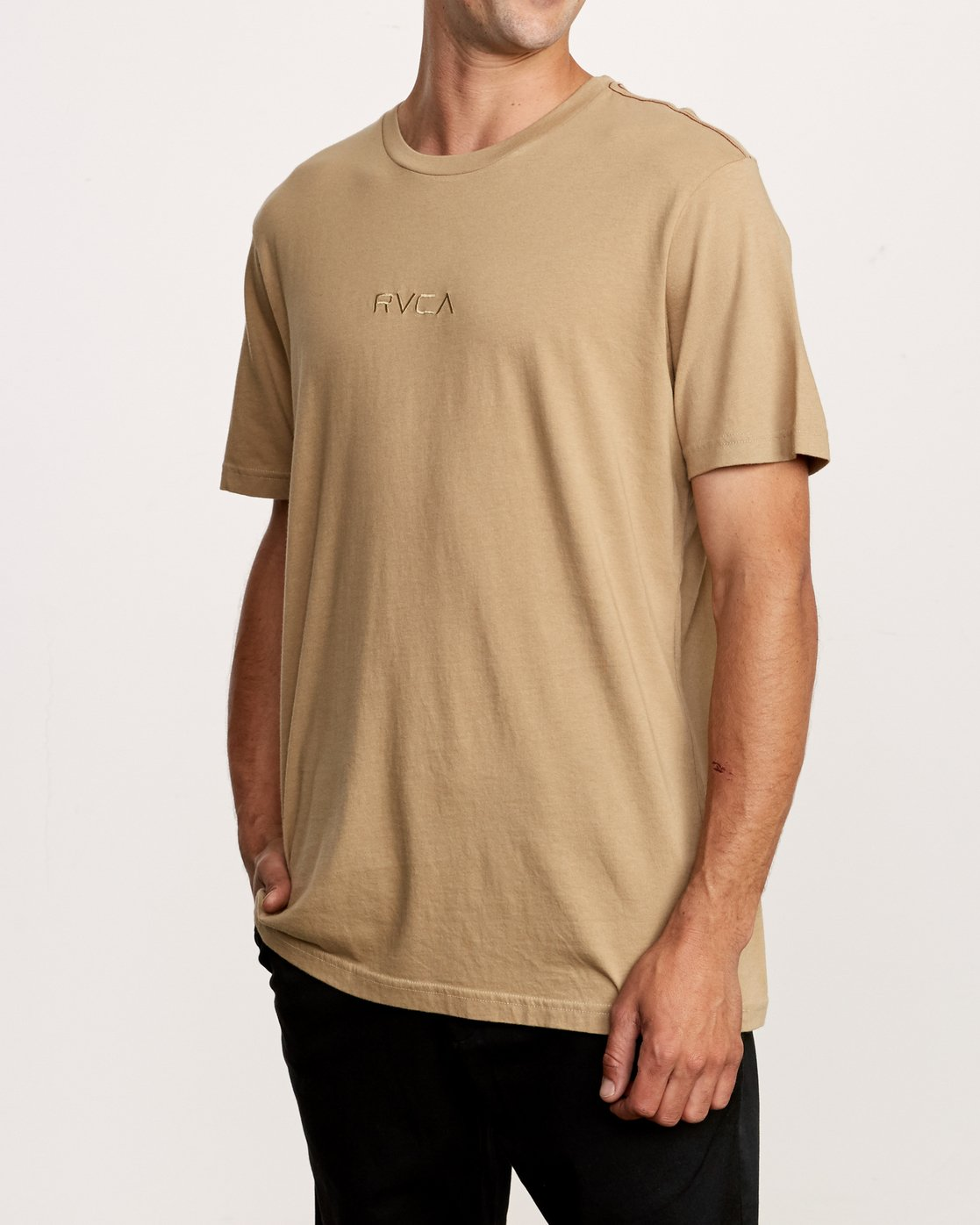 2 Small RVCA Embroidered T-Shirt Yellow M430VRSM RVCA