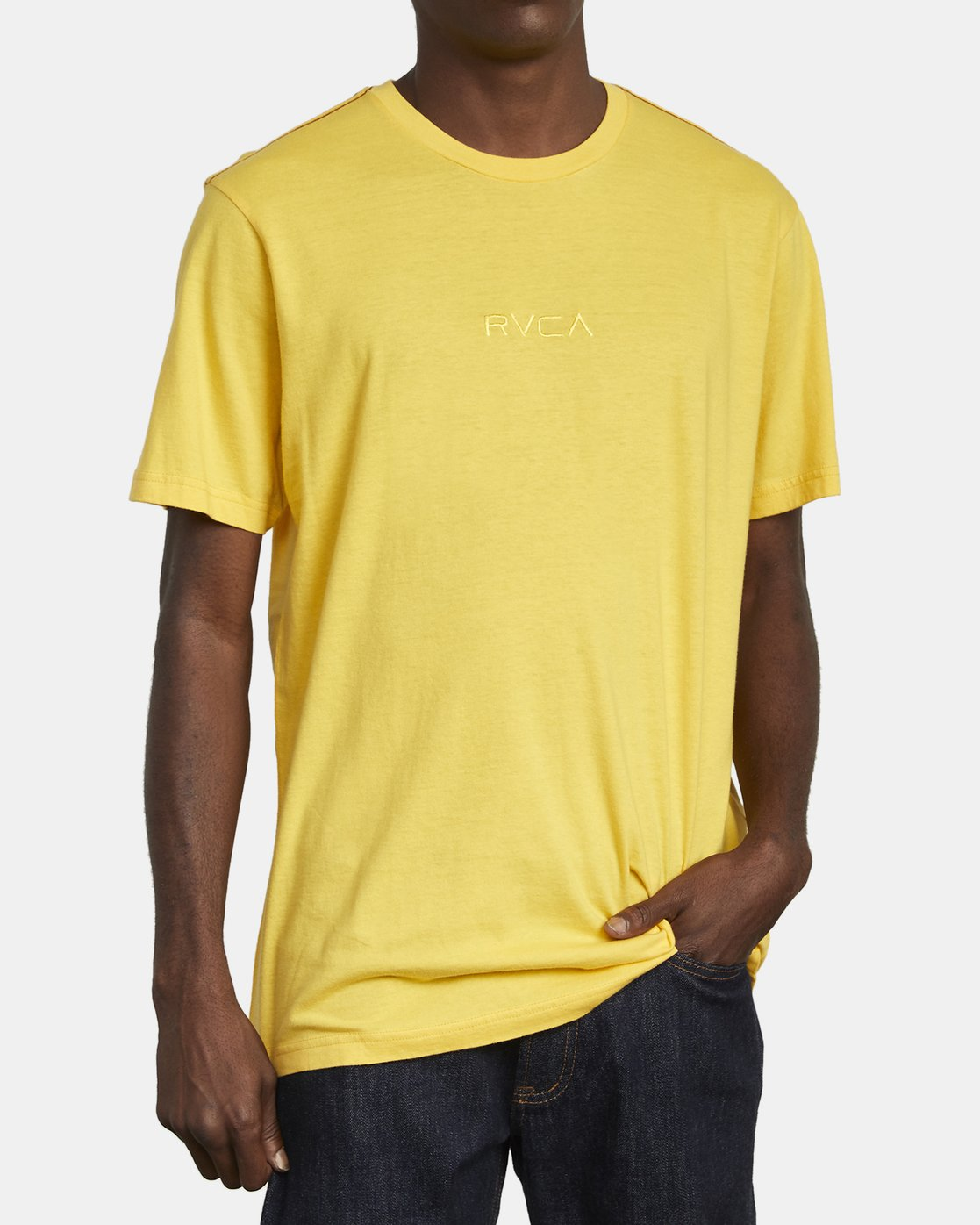 2 SMALL RVCA T-SHIRT Yellow M430VRSM RVCA