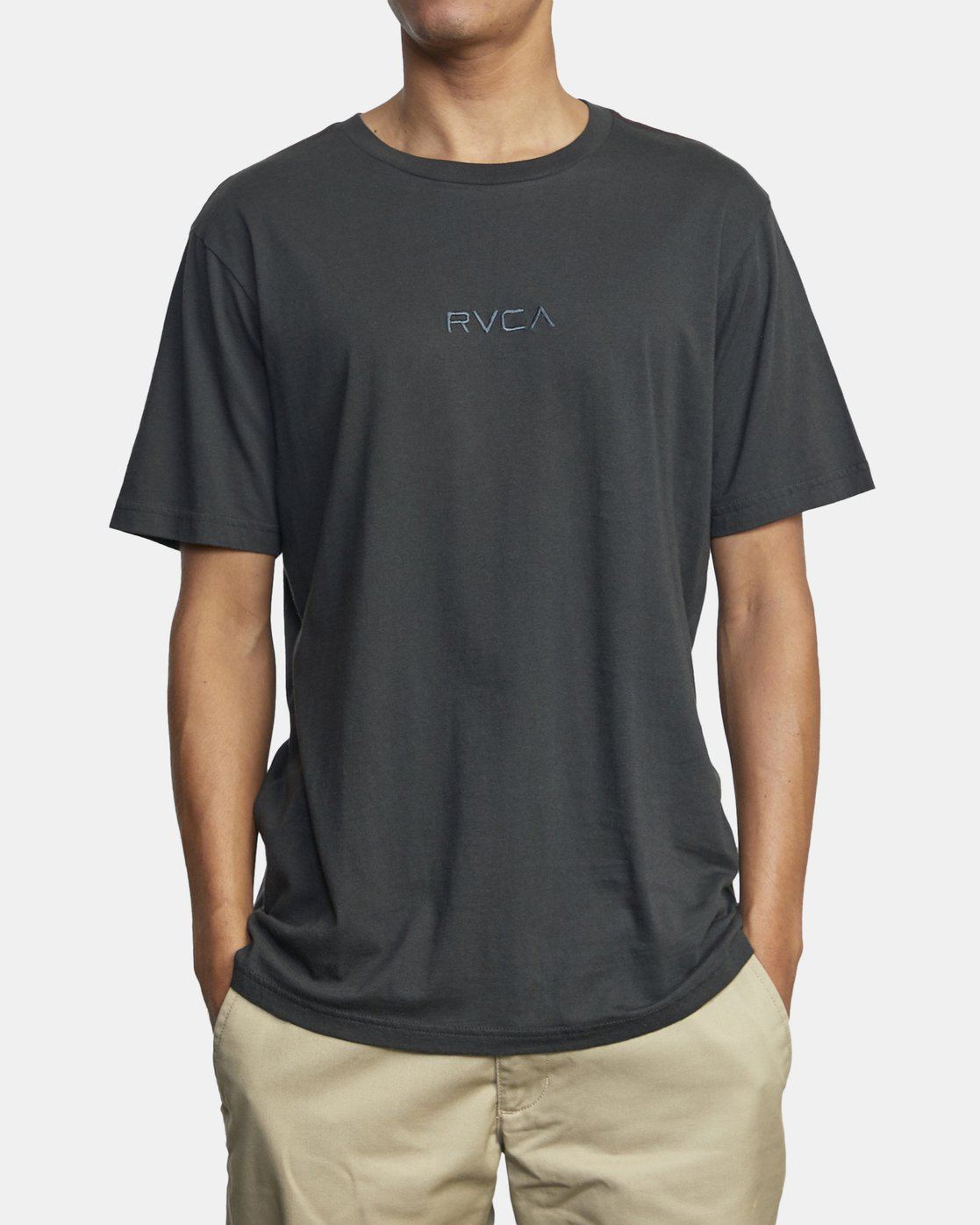 1 Small RVCA Embroidered T-Shirt Black M430VRSM RVCA