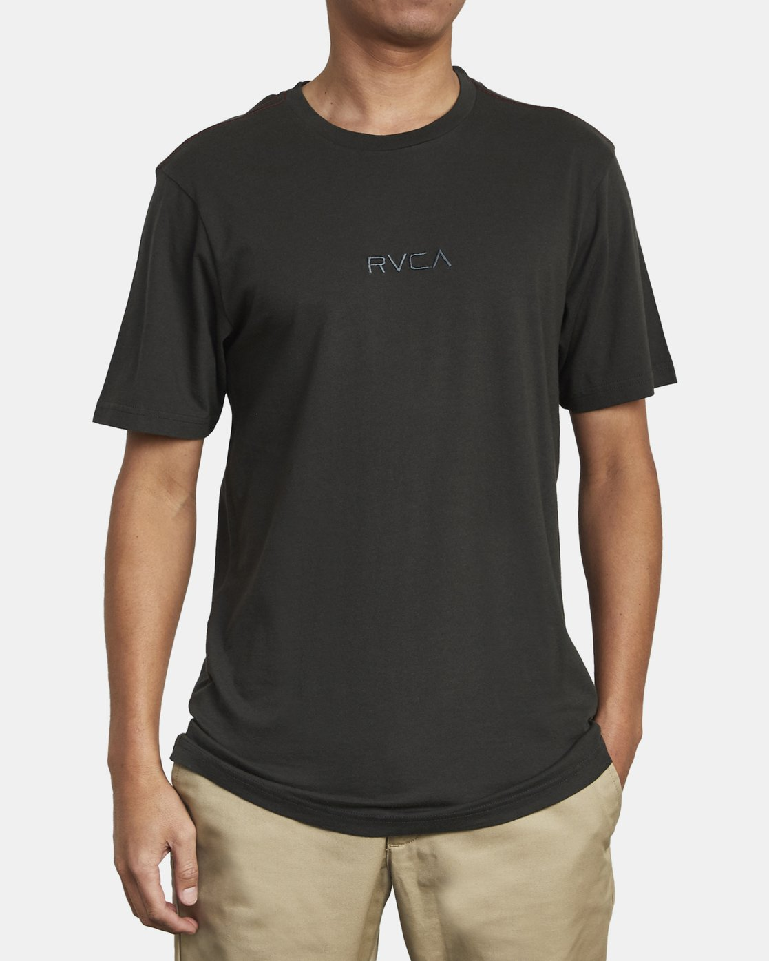 2 Small RVCA Embroidered T-Shirt Black M430VRSM RVCA