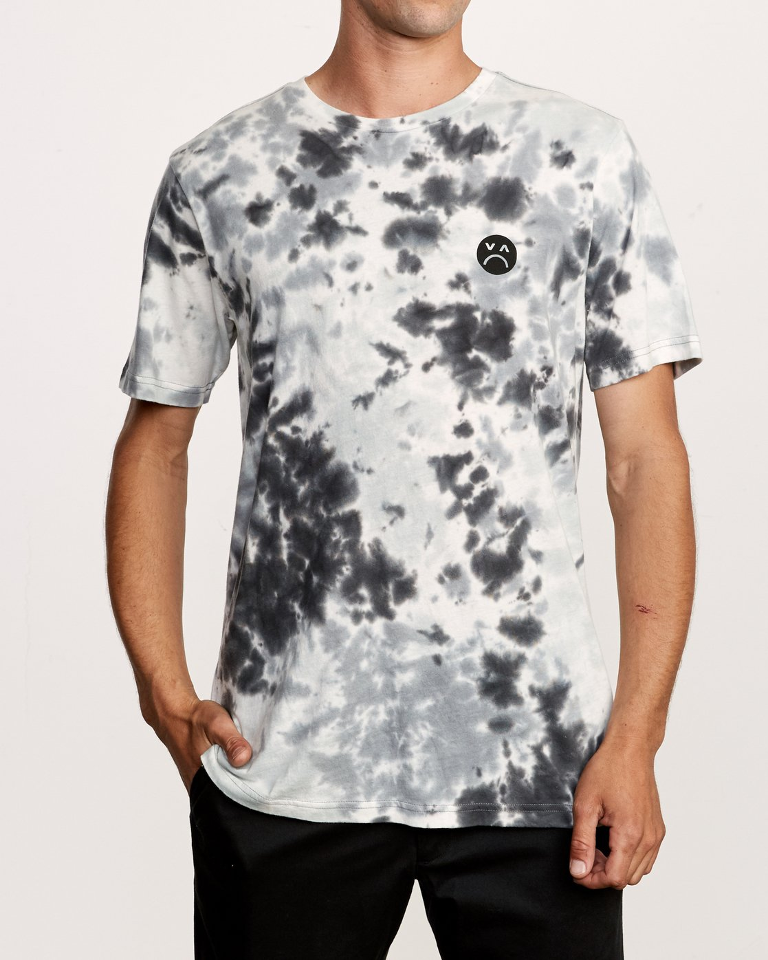 3 Happy Sad Tie Dye T-Shirt Black M446VRHS RVCA
