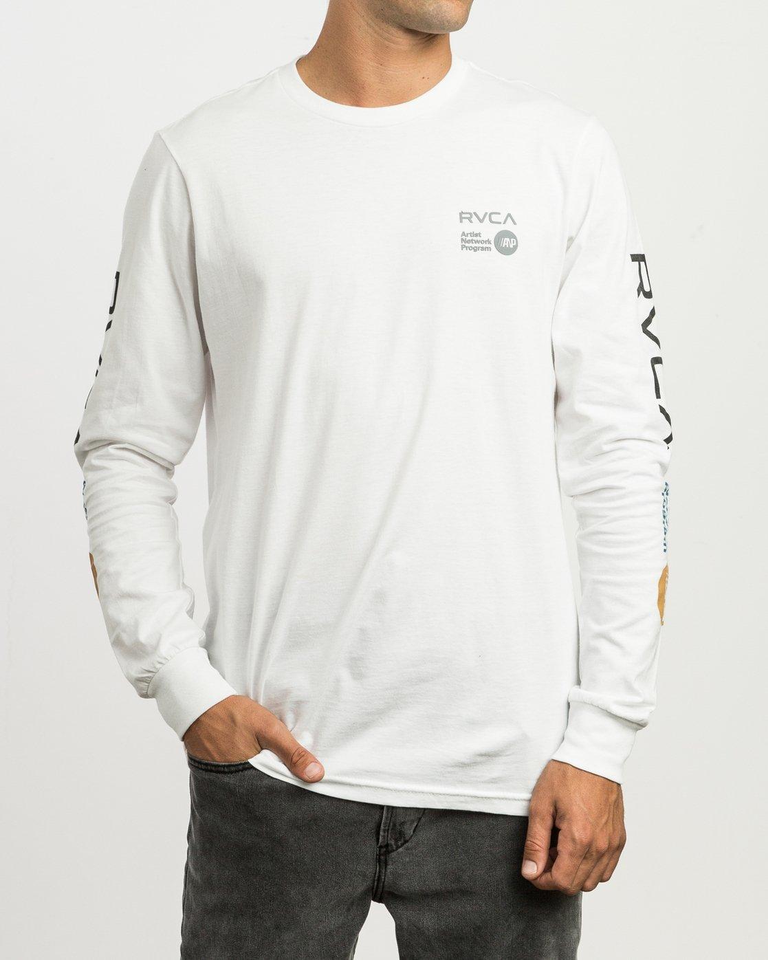 2 RVCA ANP Long Sleeve T-Shirt White M451SRRV RVCA