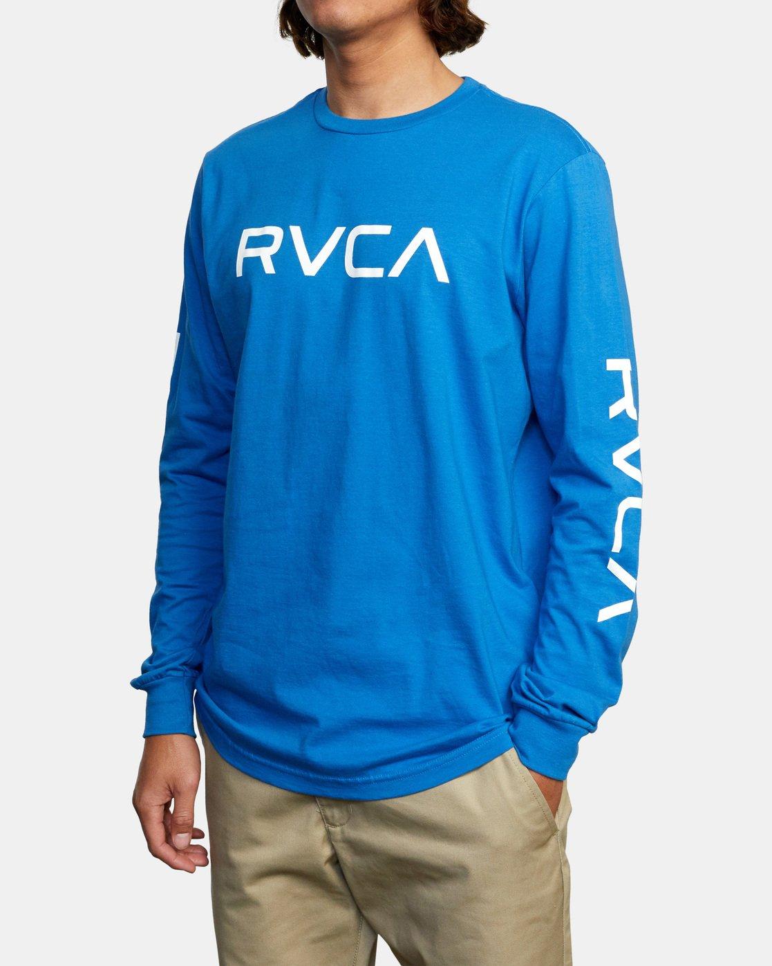 3 BIG RVCA LONG SLEEVE TEE Blue M451URBI RVCA