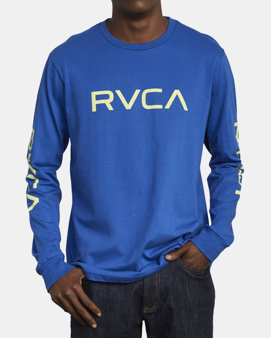 2 Big RVCA Long Sleeve T-Shirt Blue M451URBI RVCA