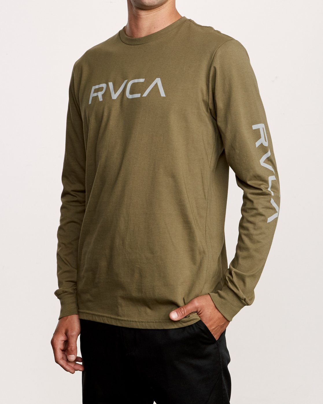 2 Big RVCA Long Sleeve T-Shirt Green M451URBI RVCA