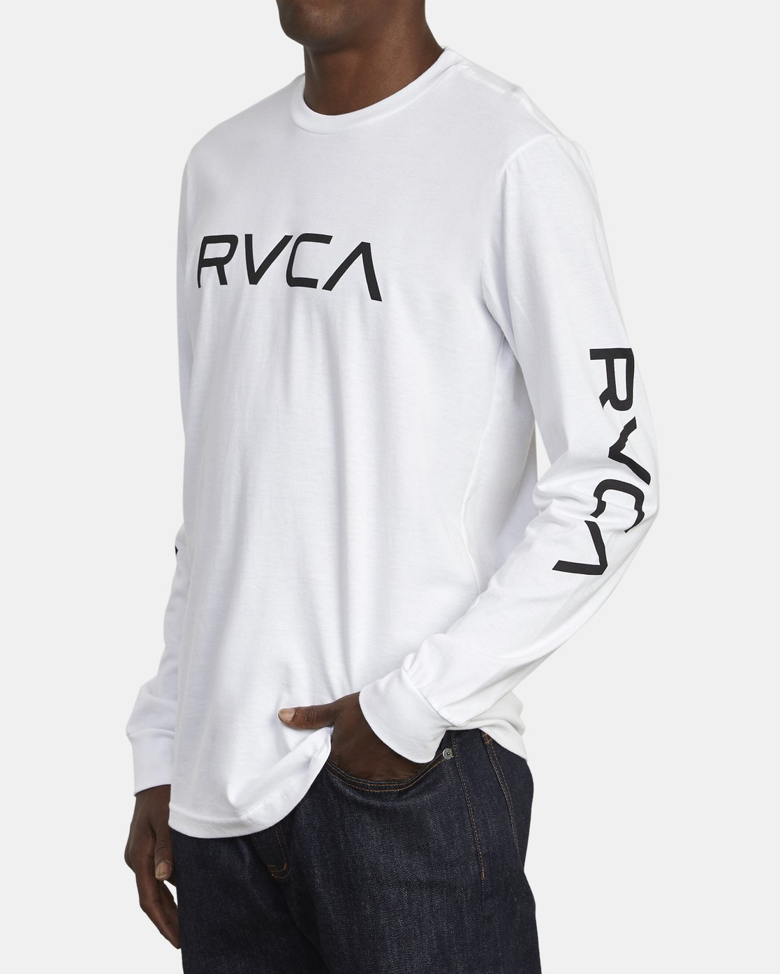 3 Big RVCA Long Sleeve T-Shirt White M451URBI RVCA