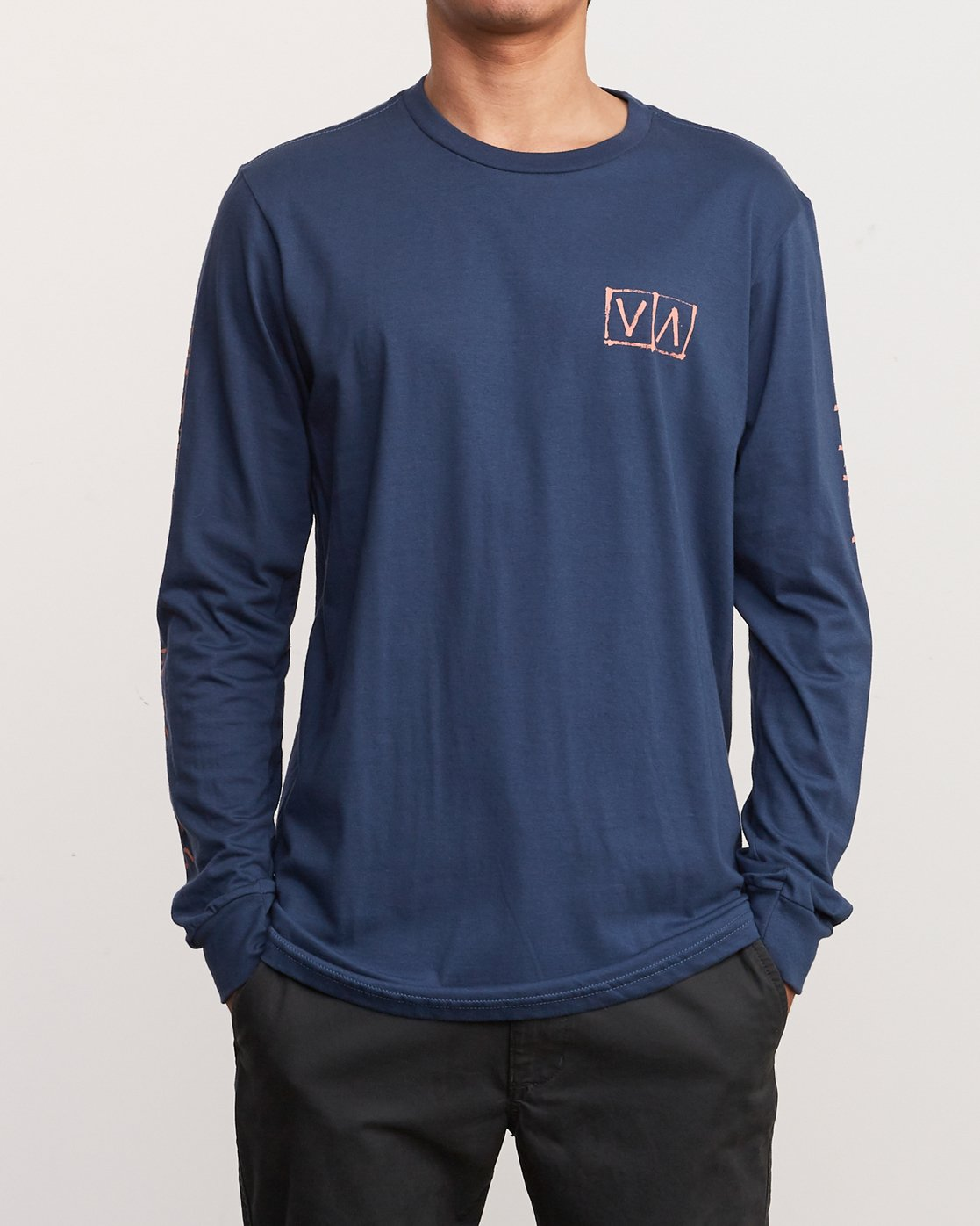 2 Ben Horton Box Long Sleeve T-Shirt Blue M451URHO RVCA