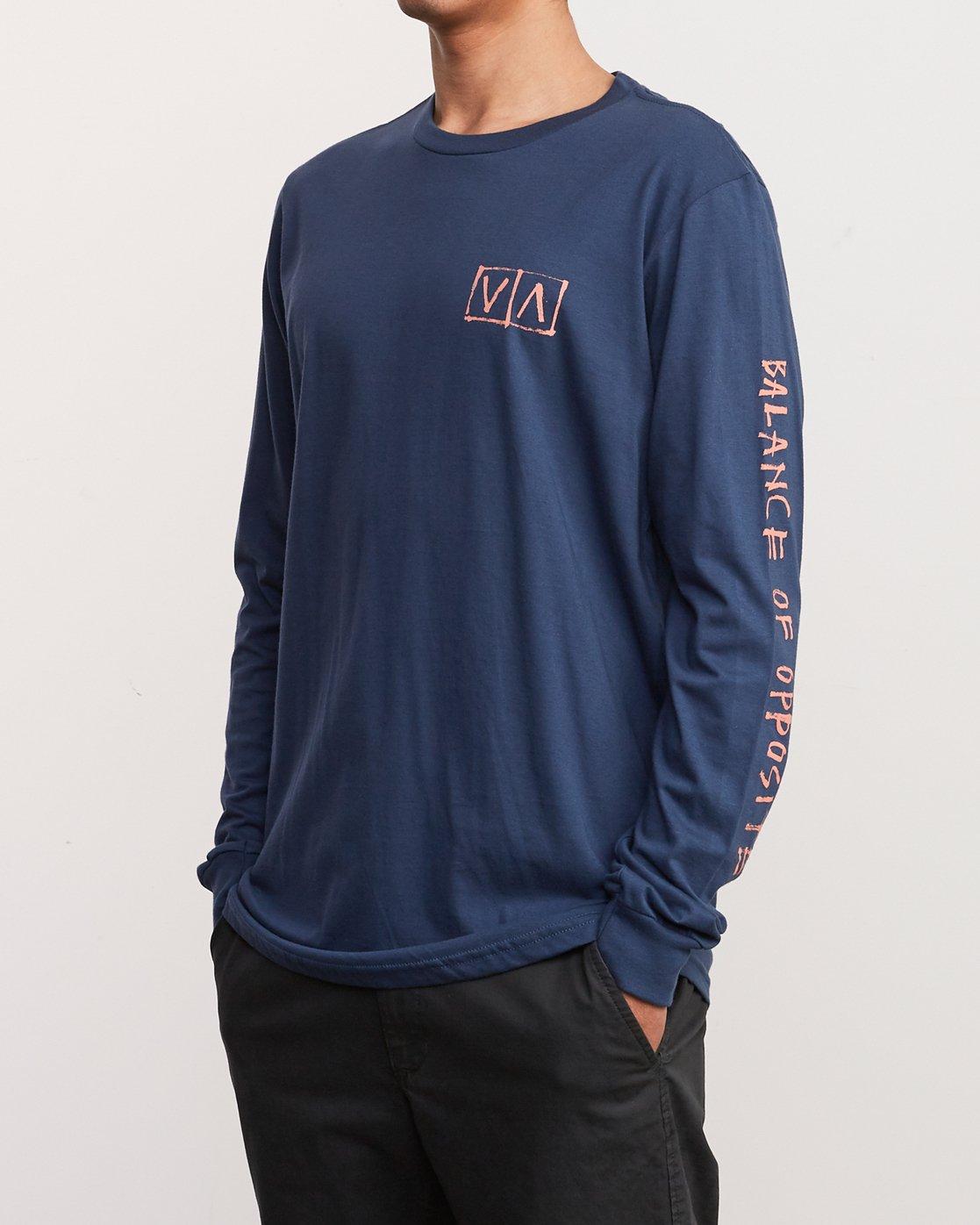 3 Ben Horton Box Long Sleeve T-Shirt Blue M451URHO RVCA