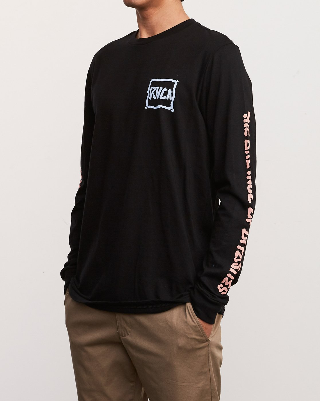 3 Sludged Long Sleeve TEE Black M451URSL RVCA