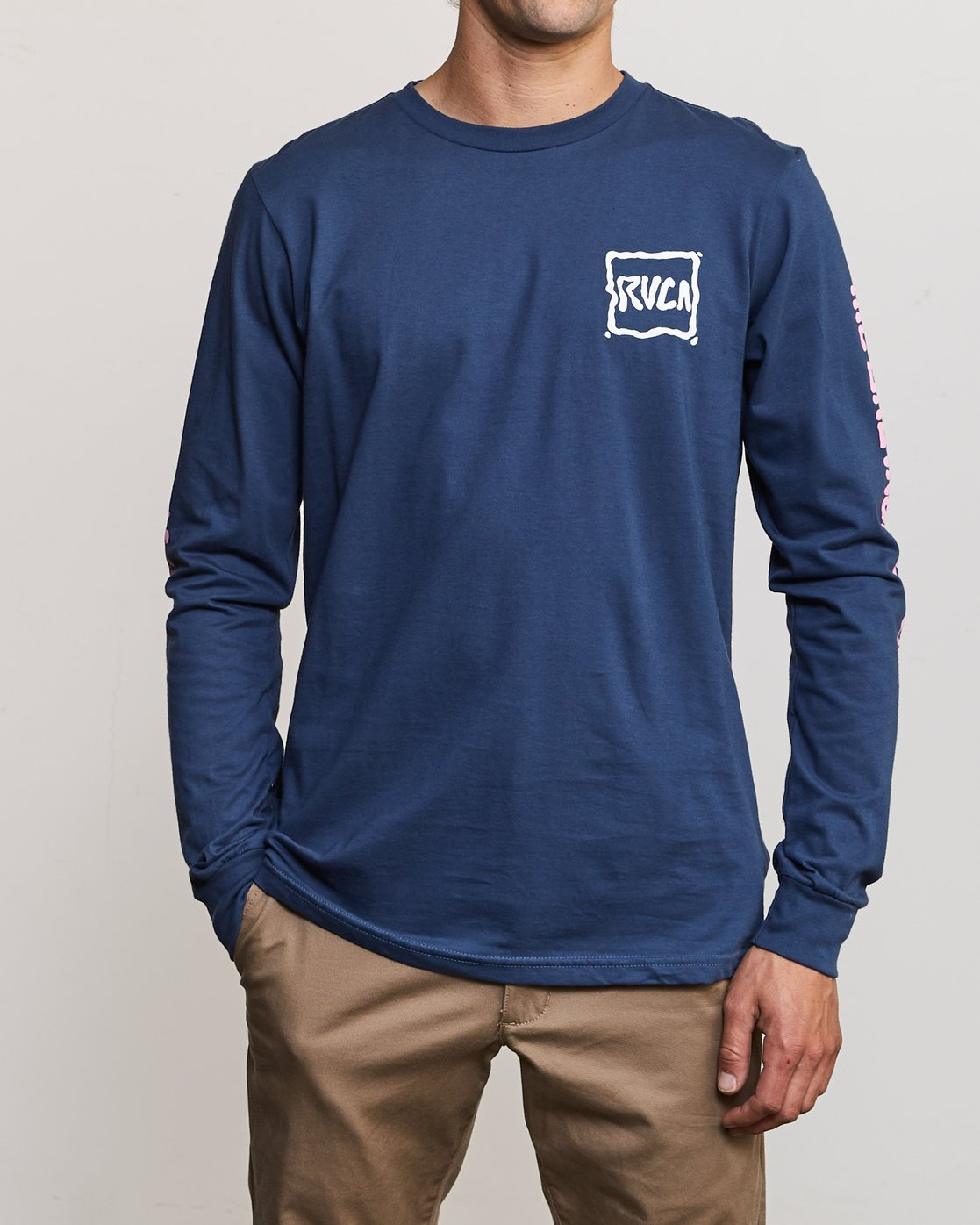 2 Sludged Long Sleeve T-Shirt Blue M451URSL RVCA