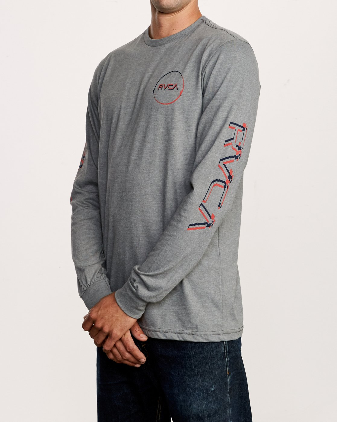 3 Big Glitch Long Sleeve T-Shirt Grey M451VRBG RVCA