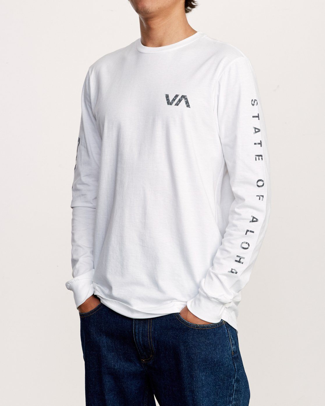 3 Da Aina Sphere Long Sleeve T-Shirt White M451VRDA RVCA