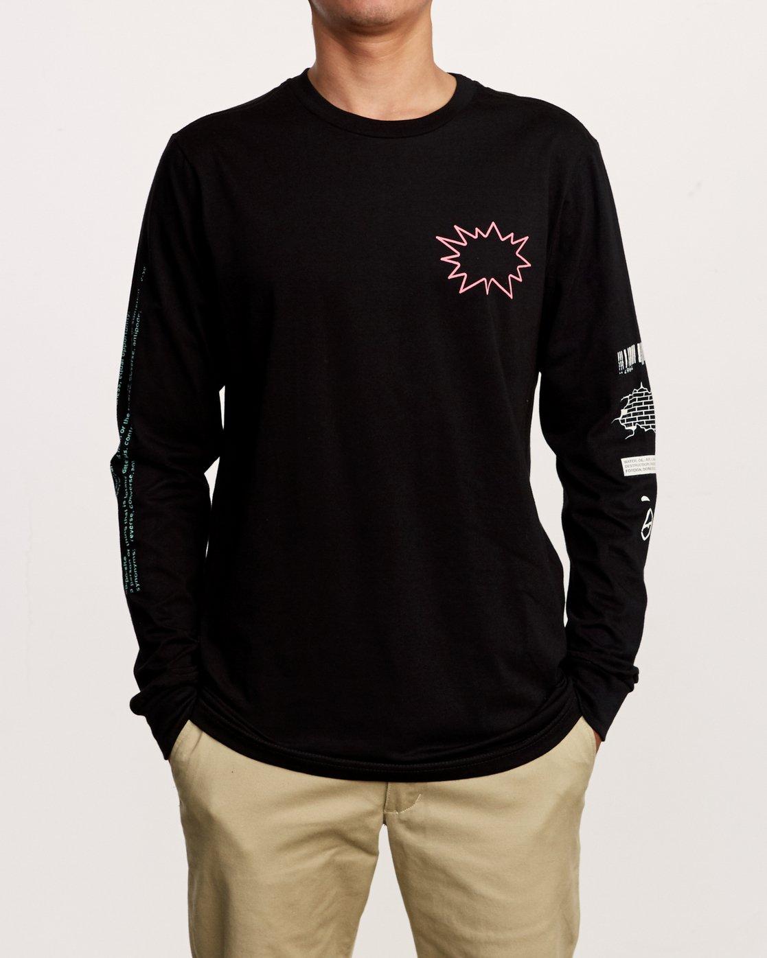 2 TV Dinner Long Sleeve T-Shirt Black M451VRTV RVCA