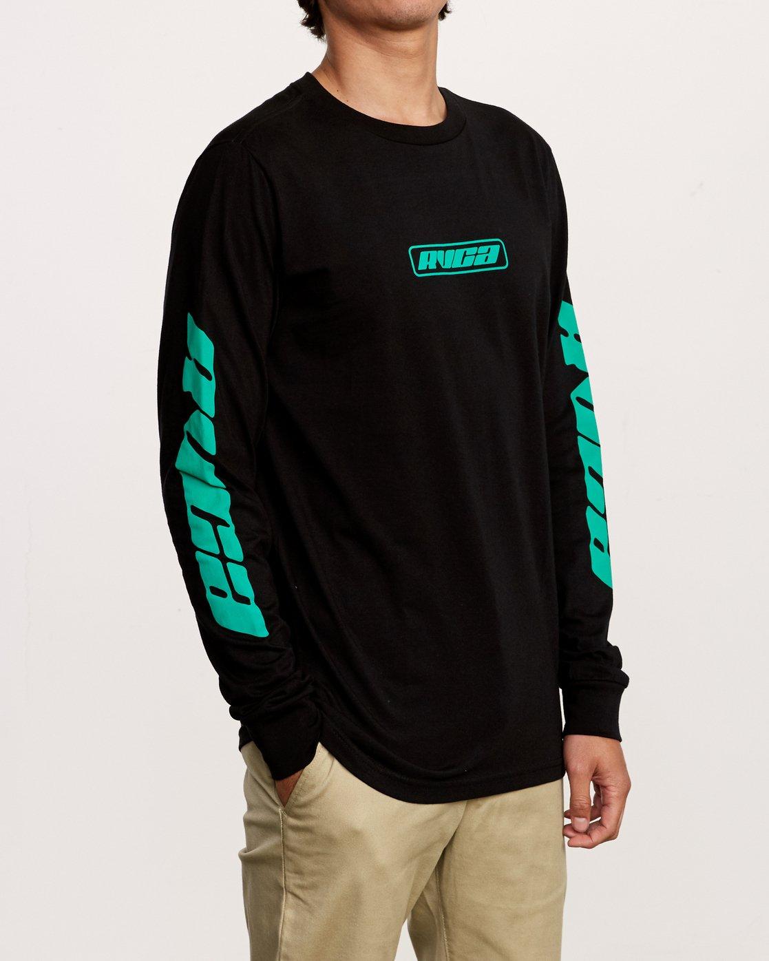 3 Warehouse Long Sleeve T-Shirt Black M451VRWA RVCA