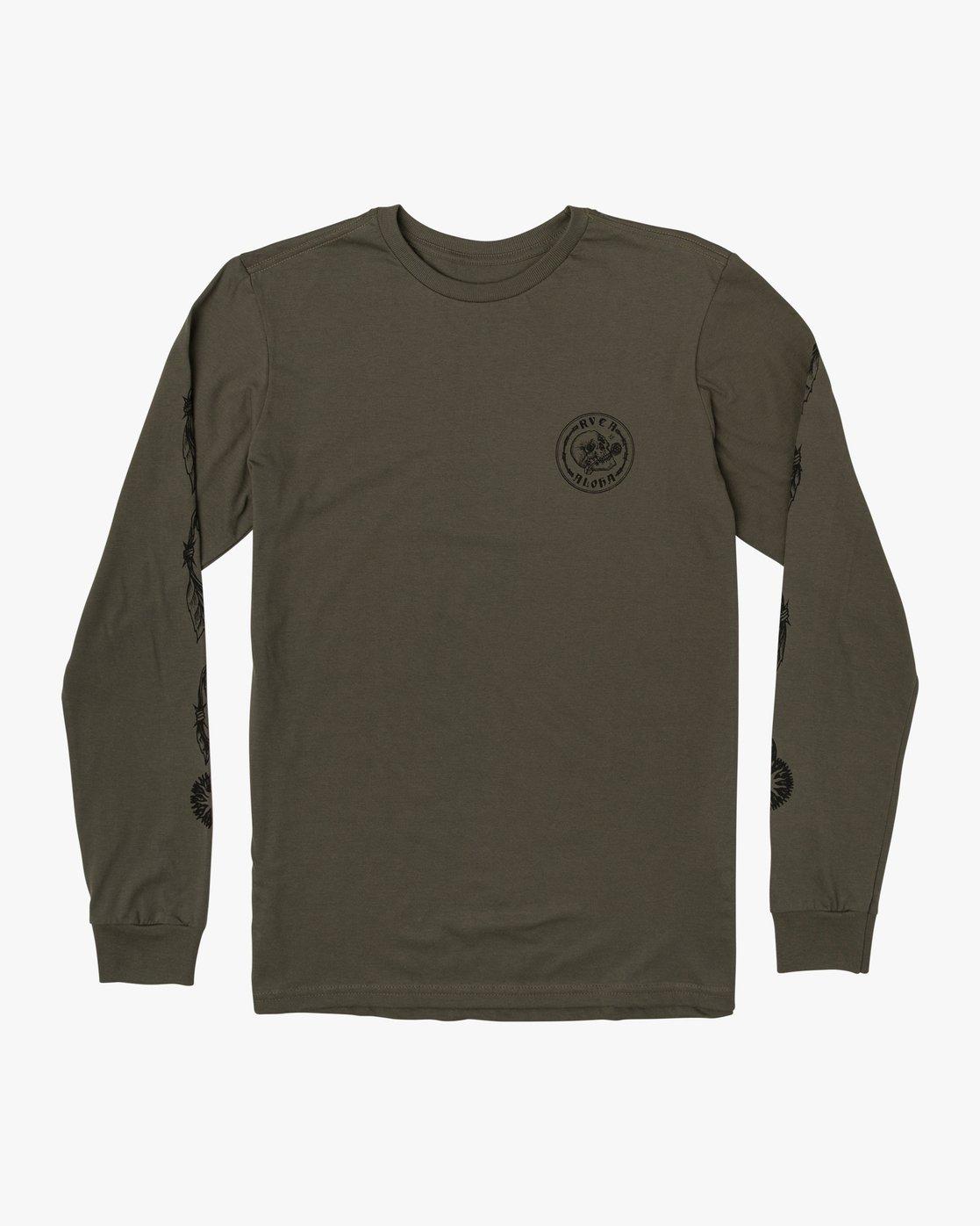 0 JeanJean Skull Wire Aloha Long Sleeve T-Shirt Green M451WRSK RVCA