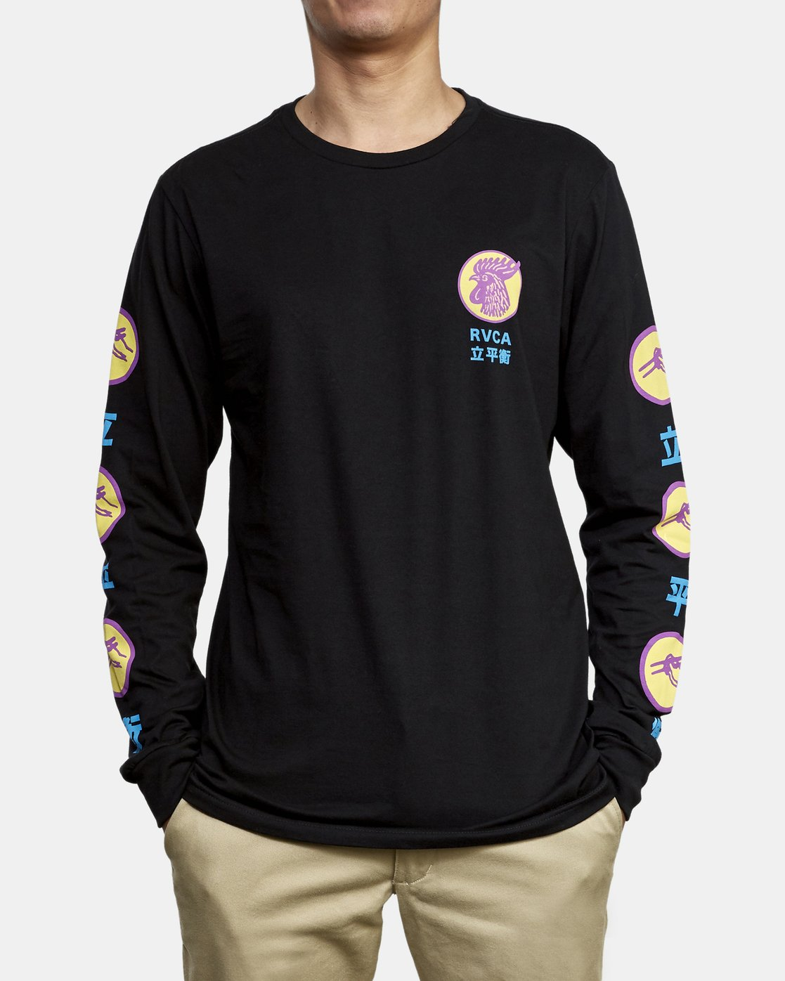 3 Take Out Long Sleeve T-Shirt Black M451WRTA RVCA