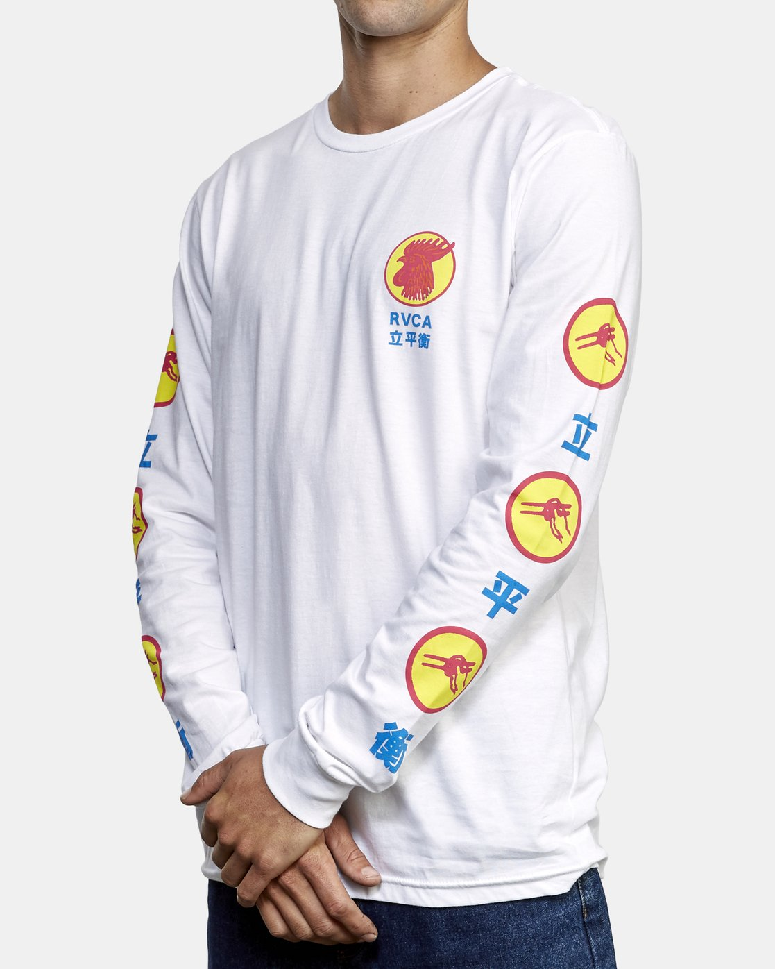3 Take Out Long Sleeve T-Shirt White M451WRTA RVCA