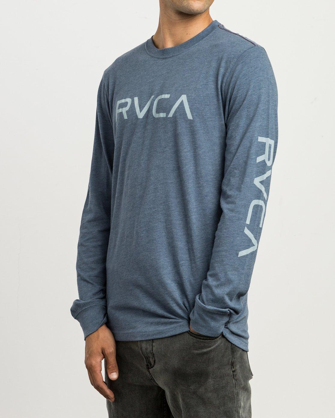 2 Big RVCA Long Sleeve T-Shirt Blue M452SRBI RVCA