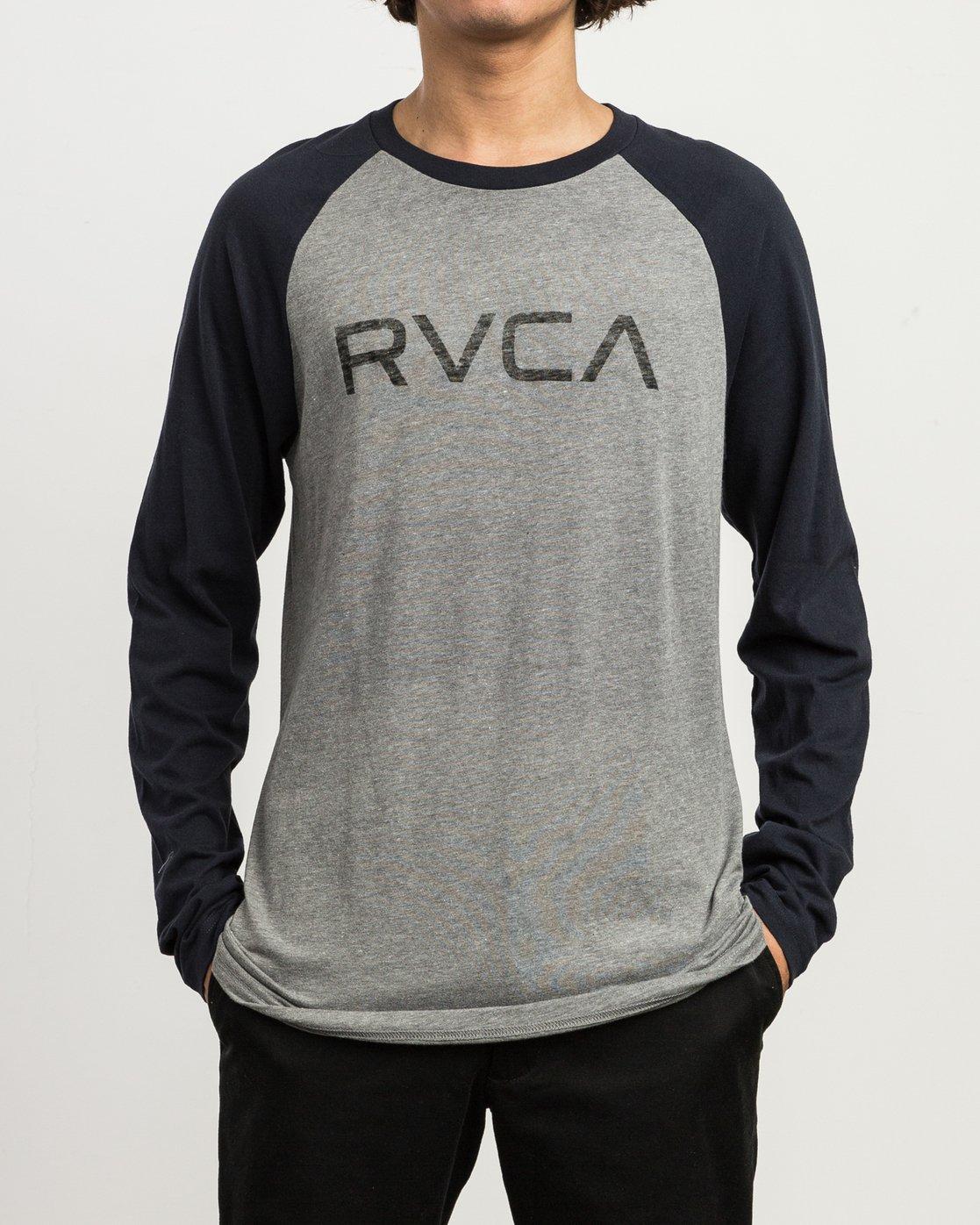 1 Big RVCA Baseball Raglan T-Shirt Grey M454SRBI RVCA