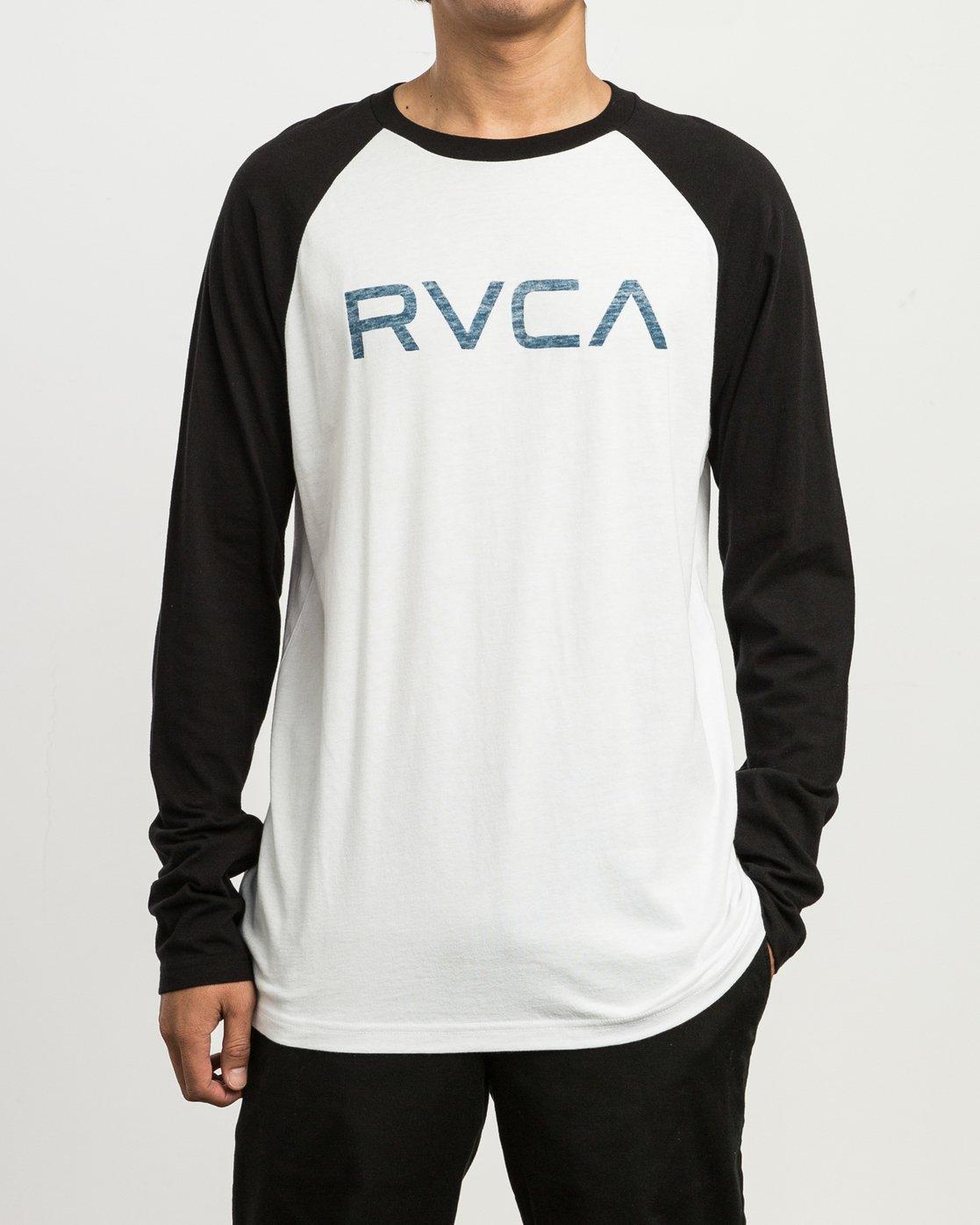 1 Big RVCA Baseball Raglan T-Shirt White M454SRBI RVCA