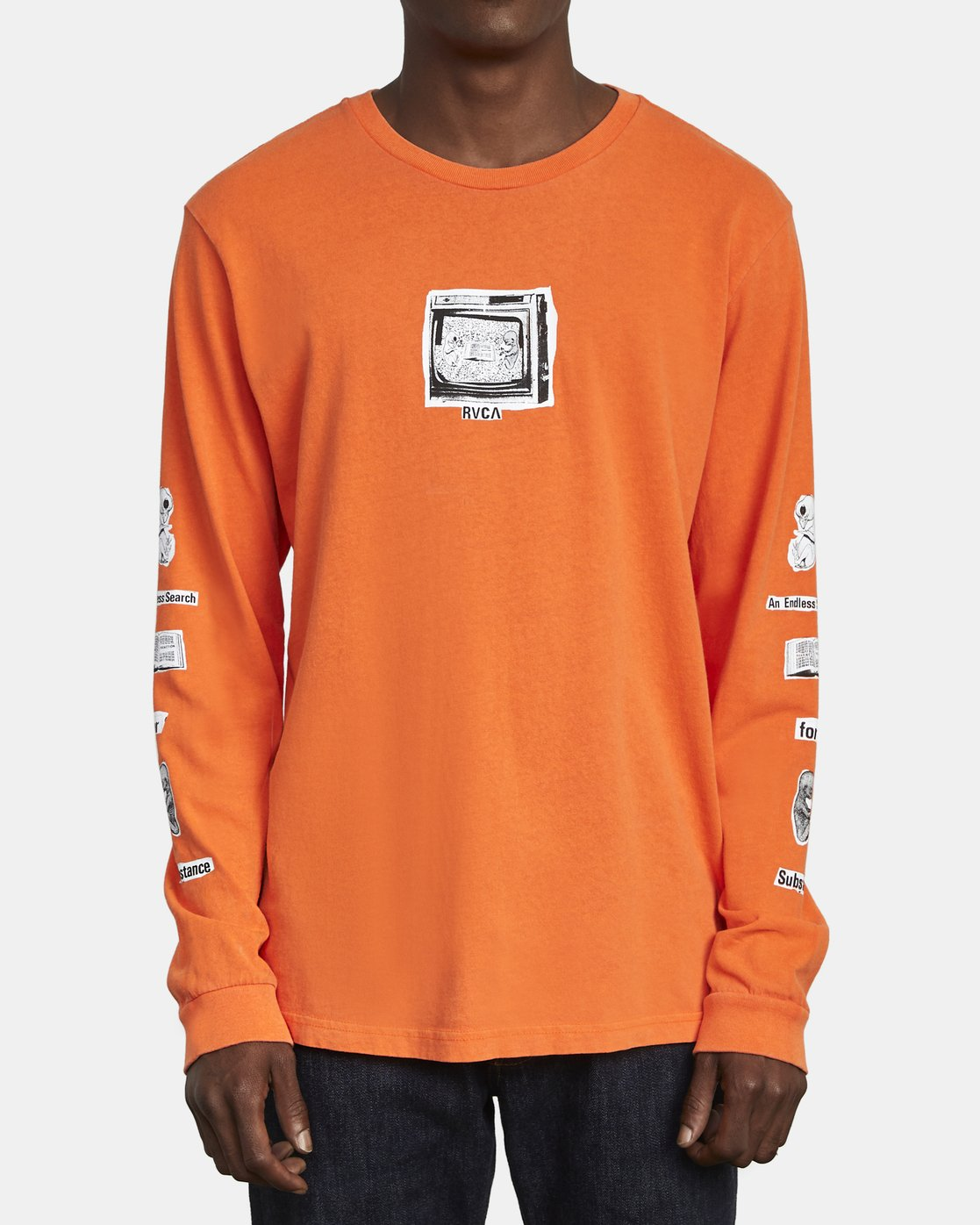 2 ENDLESS SEARCH LONG SLEEVE TEE Orange M4551RES RVCA