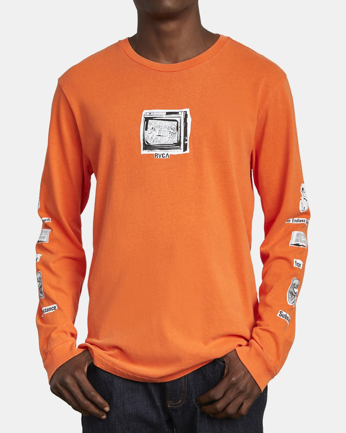 3 ENDLESS SEARCH LONG SLEEVE TEE Orange M4551RES RVCA