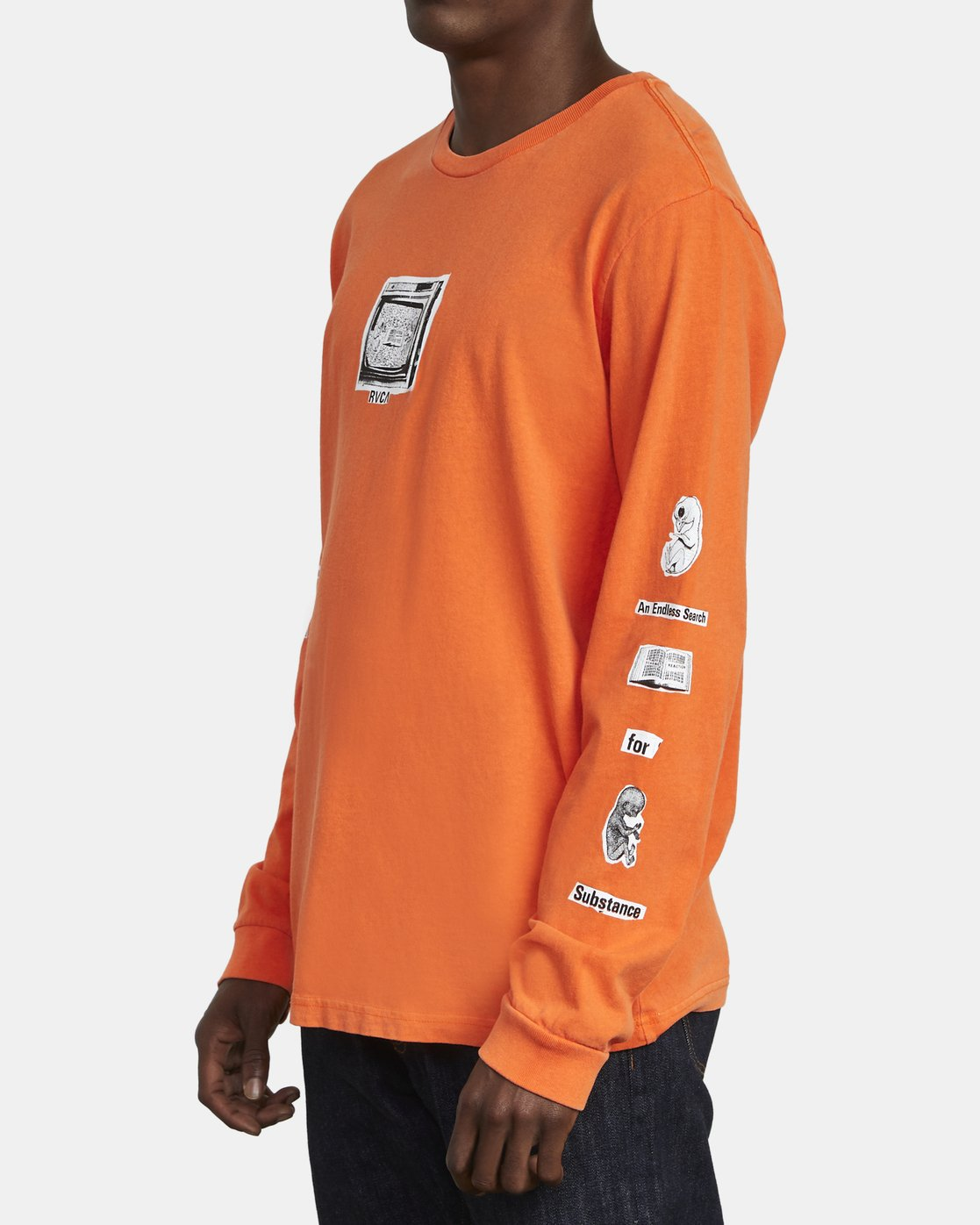 5 ENDLESS SEARCH LONG SLEEVE T-SHIRT Orange M4551RES RVCA