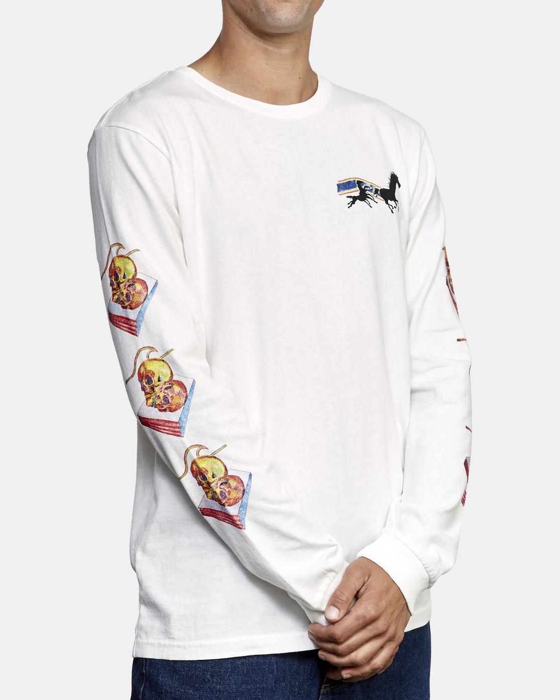 4 Spanky Gallop Long Sleeve T-Shirt White M456WRGA RVCA