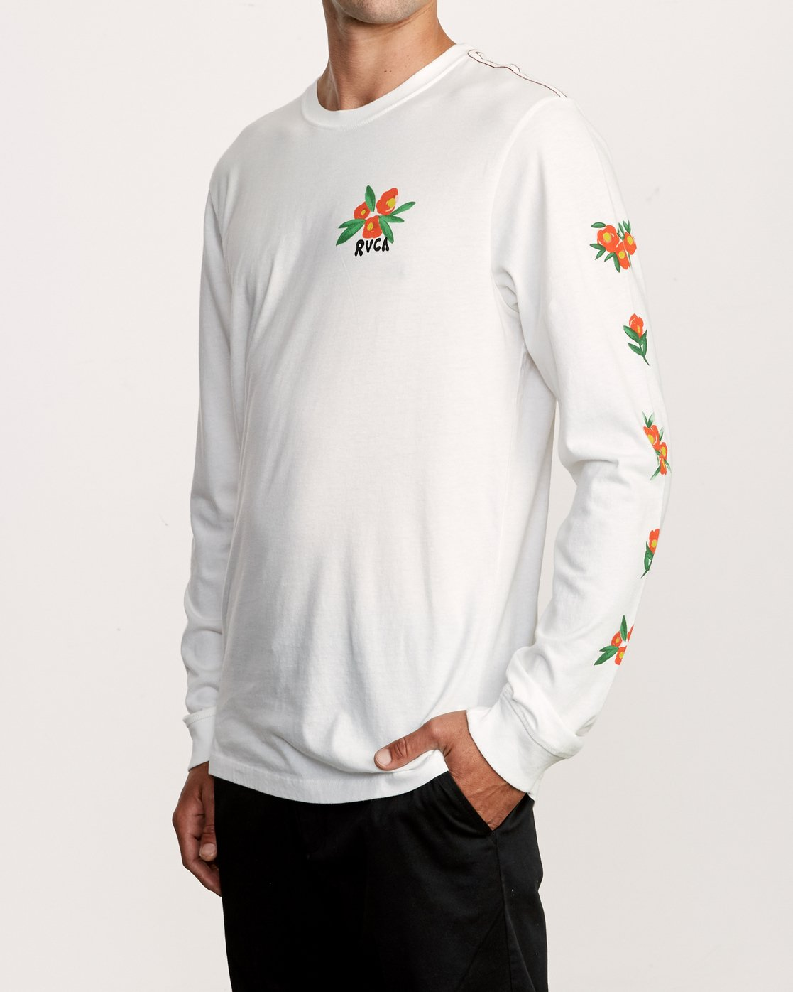 3 Grisancich Jungle Long Sleeve TEE White M463VRJU RVCA