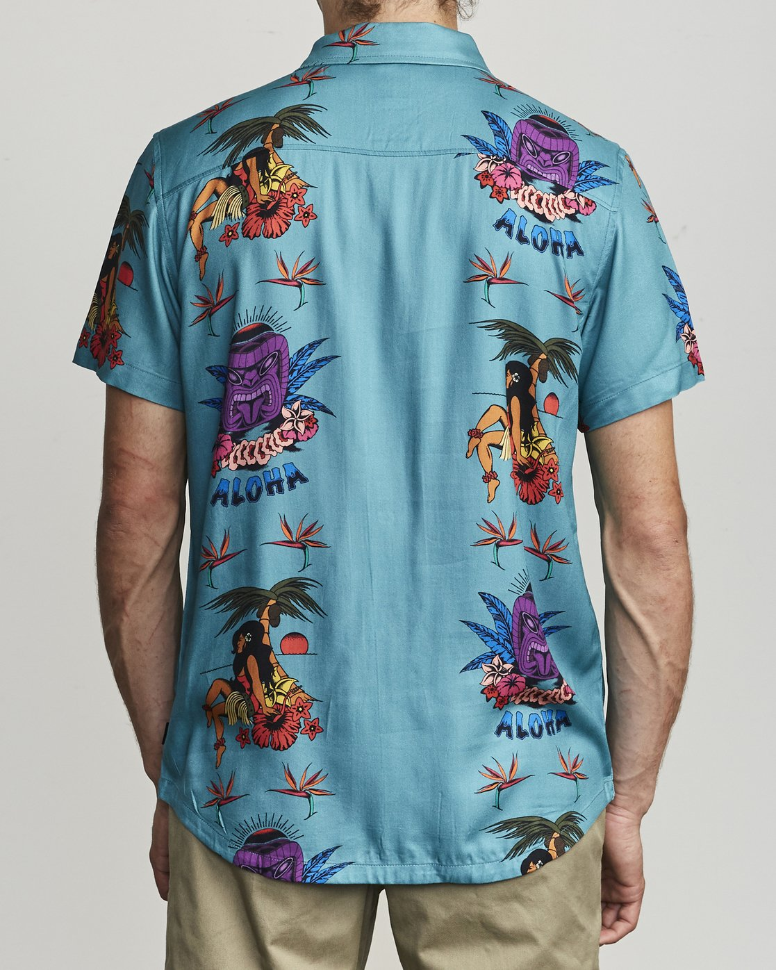 2 DMOTE TIKI BUTTON-UP SHIRT Blue M5011RDA RVCA